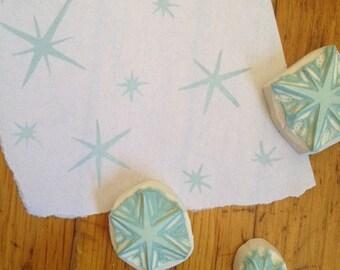 Sparkle Stars Rubber Stamp Set | Hand Carved Stamp