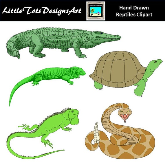 reptiles cute digital clipart for commercial or personal use rh etsy com reptile cartoon reptile clipart public domain