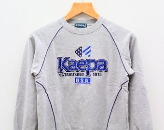 Vintage KAEPA Sportswear Big Logo Big Spell Gray Sweater Sweatshirt Size 160