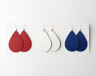 4th of July Gift Set, leather earrings, red earrings, white earrings, blue earrings, red white and blue, Independence Day