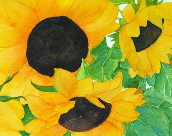 sunflowers watercolor-sunflowers painting-small 5 x 7-flower painting-flower art-flower watercolor-botanical painting-botanical art