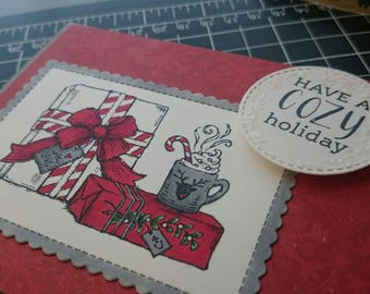 Christmas Card - Cozy Holiday Card - Hot Cocoa Card - Holiday Card - Hand Stamped Card - 3D Card -
