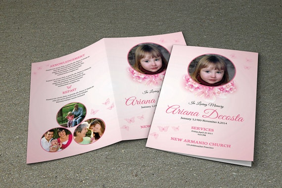 Child Funeral Program Template Memorial Program Template
