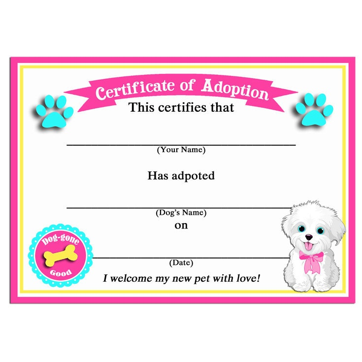 It is a graphic of Massif Printable Adoption Certificate
