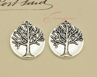 20PCS--23mm Lucky Tree charms, Antique Tibetan Silver Lucky tree charm Pendants, DIY Findings, Jewelry Making JAS0098