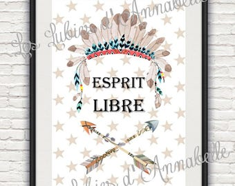 "Print + frame poster A4 size Indian or Tribal ""free spirit"" child/baby theme"