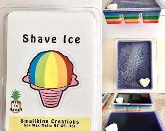 Colorful Rainbow Layered Soy Wax Hawaiian Shave Ice Scented Melts - Made in Hawaii USA