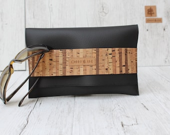Clutch natur cork S.T.R.I.P.E.S. // black