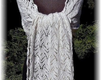 """SALE: Elegant Lace Shawl for Wedding """"Savary Island"""", handknit in luxurious Silk-Cashmere Blend for all seasons"""