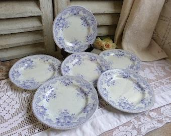Set of 6 antique french lavender transferware dessert plates. Jeanne d'arc living. French Nordic decor. Lilac transferware.