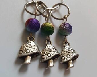 Rainbow fairy toadstool knitting stitchmarkers