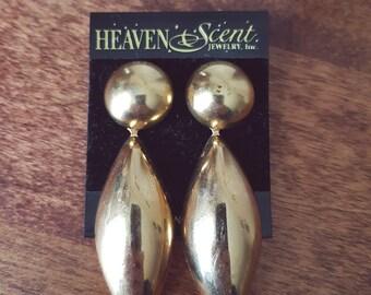 Heaven Scent Earrings, Brass, Scented Earrings, 1980s