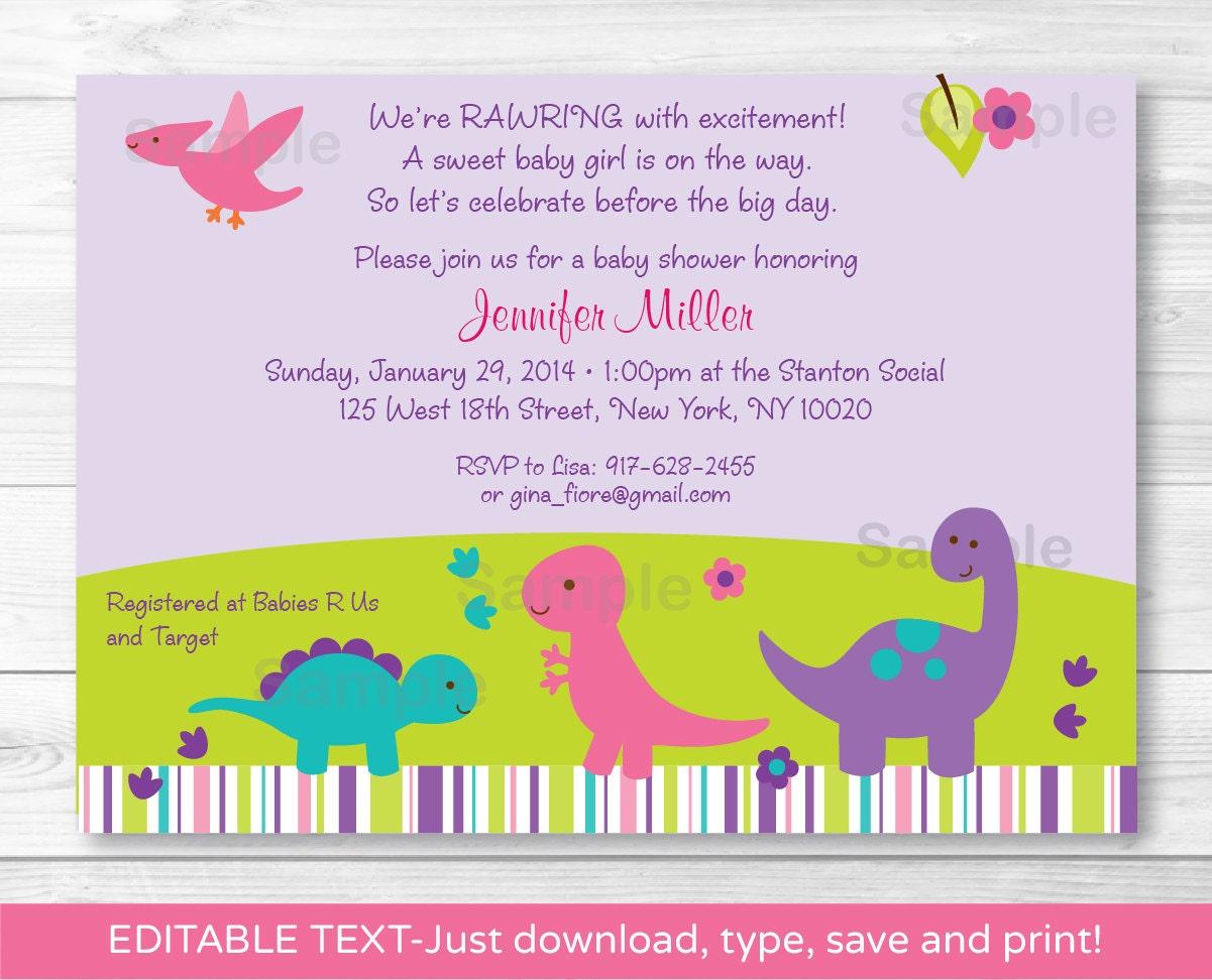 Cute Pink Dinosaur Baby Shower Invitation / Dinosaur Baby