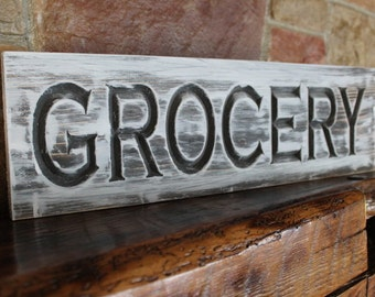 carved grocery sign, rustic farmhouse kitchen style, fixer upper decor, kitchen wall art, rustic wood kitchen sign, rustic grocery sign