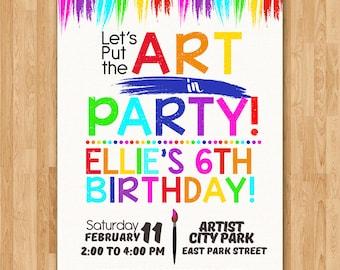 Art Party Birthday Invitation 2 - Art Invitation Birthday - Art Party Favors - Colorful Art Party Invite - Artist Party - Art Birthday Party