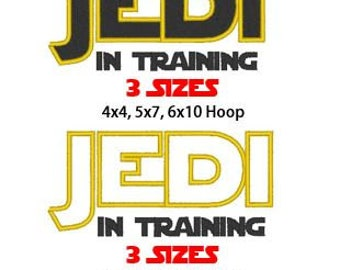 Jedi In Training, 2 Designs, 3 sizes each, Machine Embroidery Design, Instant Download, PES format and more format available by request