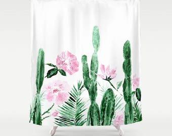Peony shower curtain pink olive green shower curtain floral floral cactus shower curtain cactus shower cactus curtain floral shower curtain pink mightylinksfo