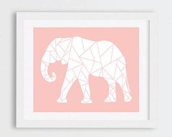 Elephant Geometric Art Print, Peach Elephant Nursery Art Printable, Instant Download, Blush Pink Nursery Decor, Elephants Prints