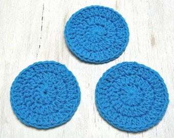 Cotton Facial Scrubbies, Bath & Beauty, Hot Blue Spa Accessories, Crocheted Makeup Remover pads, London, Ontario, Gift for Her, zero waste