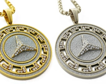 "Iced Out Peace Symbol Medallion Pendant Stainless Steel Necklace + 30"" Chain"