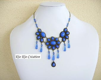 Beads necklace, Sapphire, cobalt blue and bronze metal, resin cabochon flower connector, Crystal and glass, extension chain, jewelry