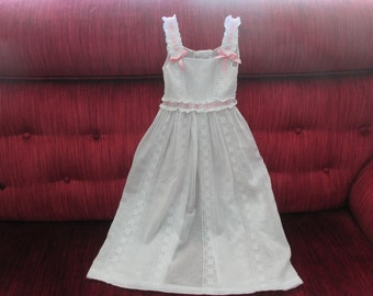 Sweet Edwardian Baby White Cotton Batiste Eyelet and Embroidery Pinafore/Doll Pinafore  #16068