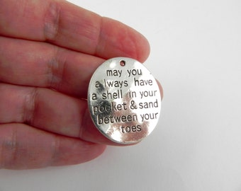 5 Beach Word Charms in Antique Silver - 30mm x 26mm - Shell in Pocket, Sand between Toes - Stamped Metal Charm
