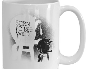 Cat and Mouse Born To Be Wild Coffee Mug Gift Black Cat