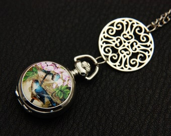 two birds Pocket watch Necklace 2222m