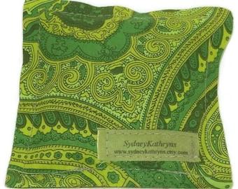 Organic Lavender Sachet, Olive Green Paisley, 100 Percent Cotton