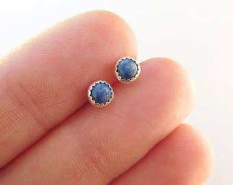 Lapis stud earrings | Gemstone stud earrings | 4mm round earrings | round studs | Small post earrings | sterling post earrings