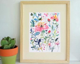 Pink Medley No.2, Watercolor Flowers Fine Art Print, Watercolor Floral Decor, 5x7, 8x10