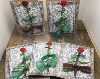 Christmas Tree Cards, Tree Cards, Christmas Cards, Happy Holidays Cards, Holiday Cards, Set of Cards, Set of Five Cards, 5 Cards