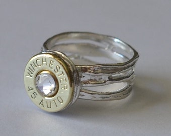 Winchester 45 Auto 1911  Pistol  Bullet  Ring Nature  Sterling Silver 925  Swarovski Crystal Custom Made in the USA Bullet Jewelry