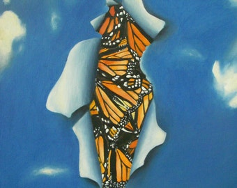 Original Oil Painting Print, Sky-cocoon, Monarch Butterflies, Imagine Air Life