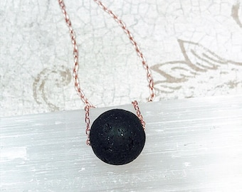 Rose Gold Lava Stone Diffuser necklace/Aromatherapy Necklace/Lava Stone Necklace/Minimalist Necklace/Minimalist pendant/Gold necklace