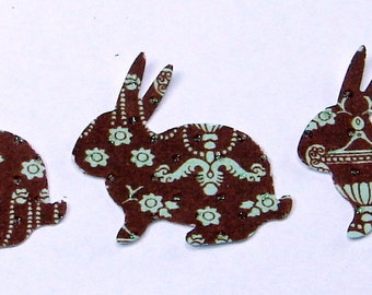 100 Chocolate and Aqua Hand Punched Die Cut Bunnies