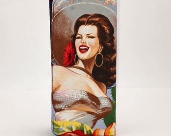 Mexican vintage Golden era actress print handmade checkbook style wallet