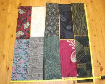 Vintage Japanese Silk Tsumugi Kasuri Ikat Kimono Fabric Pieces Scraps Set Lot Remnants