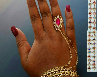You choose color Gold ring bracelet hand chain finger chain slave bracelet hand jewelry ring diamond ring