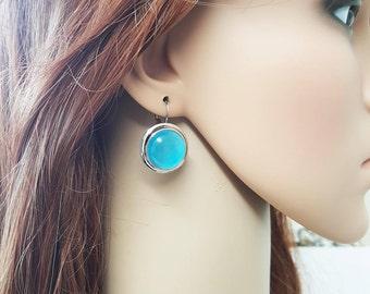 Turquoise Cat eye Earrings, Cats eye Jewelry, Statement Silver Turquoise Earrings, Dangle Turquoise Earrings, Gift For Her, Cat Eye Stone,