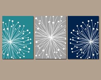 DANDELION Wall Art, CANVAS or Prints, Teal Gray Navy Bedroom Wall Decor, Bathroom Decor, Flower Dandelions Theme, Set of 3, Home Decor