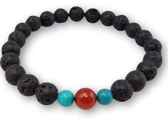 Lava, Carnelian, and Turquoise Wrist Mala CL-5