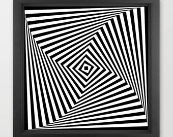 Geometric print, optical illusion print, abstract art print, black and white print, monochrome wall decor, op art print, 16x16 print