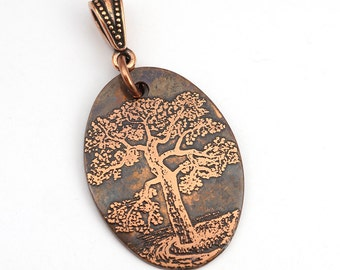 Copper tree in water pendant, large flat oval, etched metal, optional necklace, 31mm