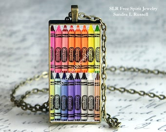 Crayons,Glass Pendant, Rainbow Colors,Necklace, Coloring Book Activity,Adult Coloring Party Gift, Art Necklace, Graphic Art, Artist Gift,
