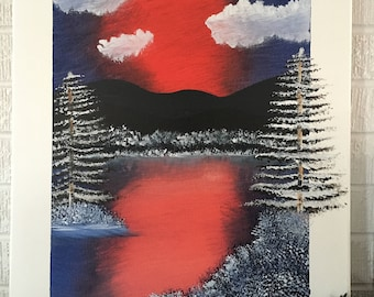 Red/Purple Winter Lake Scene