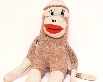 Vintage Sock Monkey Plush Stuffed Animal Doll Retro Kitsch Kitschy