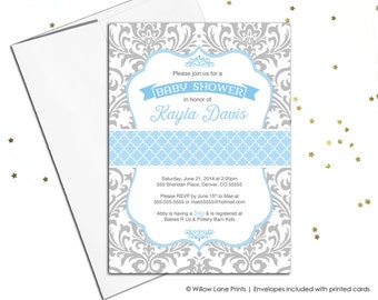 Baby boy shower invitation - blue and gray baby shower invite damask pattern - printable baby shower invitation or printed - WLP00778
