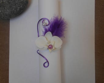 Napkin ring - artificial Orchid - purple